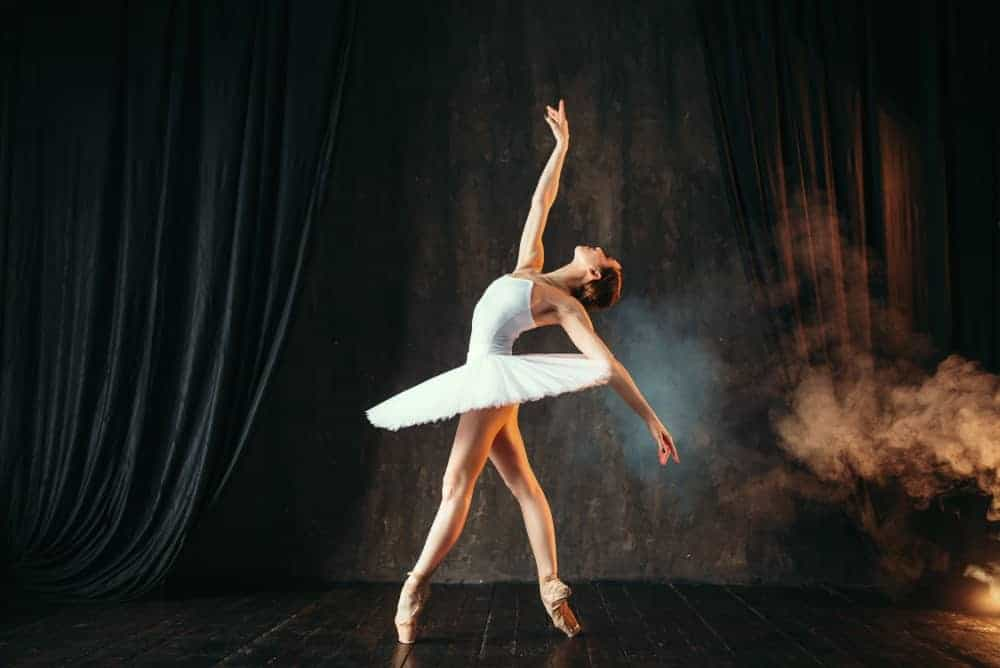 Ballerina in white tutu skirt dancing on the stage.