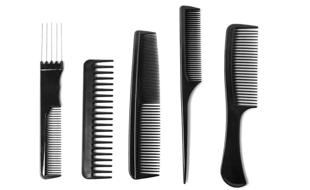 A set of different combs in black.