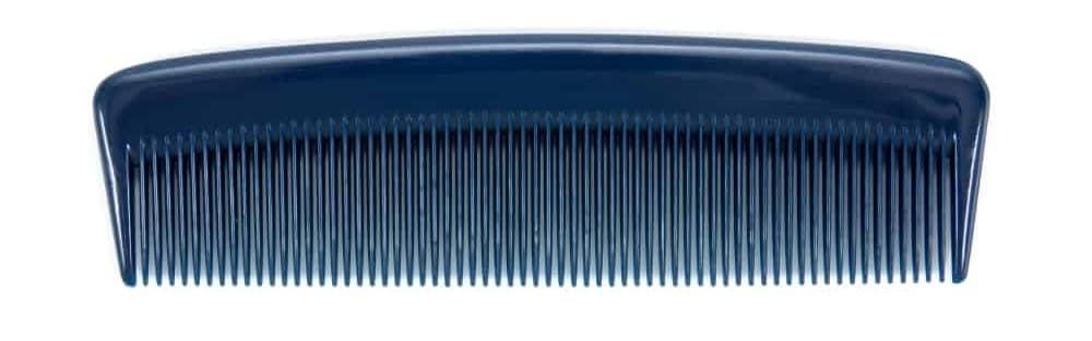 A black fine-tooth comb.