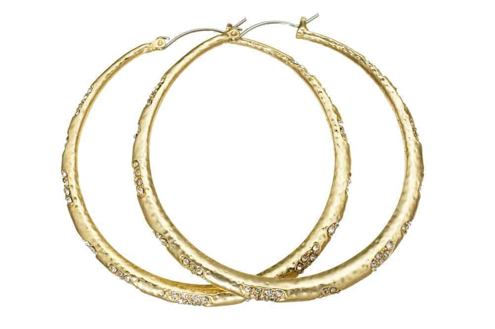 A pair of golden hoop earrings with diamond accents.