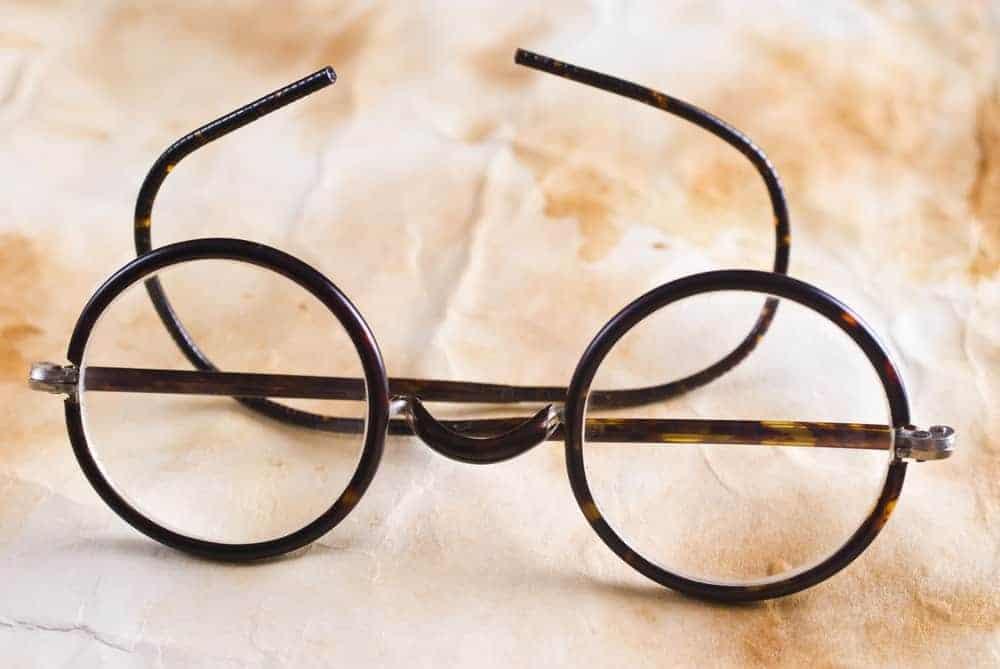 An antique pair of eyeglasses.