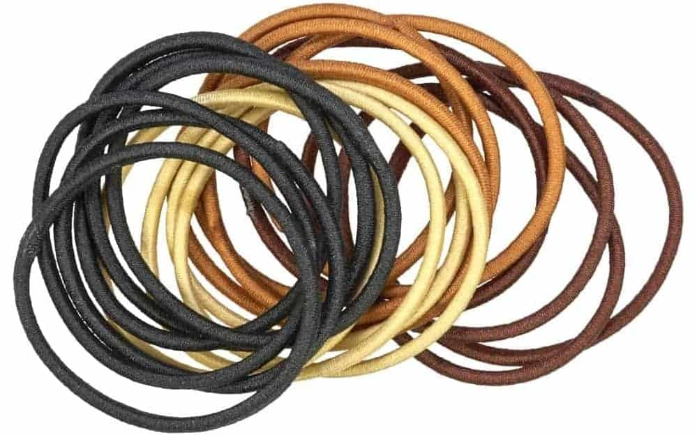A bunch of rubber hair bands in different colors.