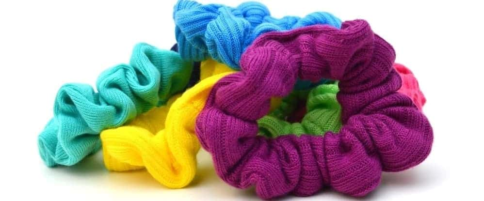 A bunch of colorful scrunchies.