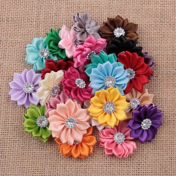 A bunch of ribbon flower bows.