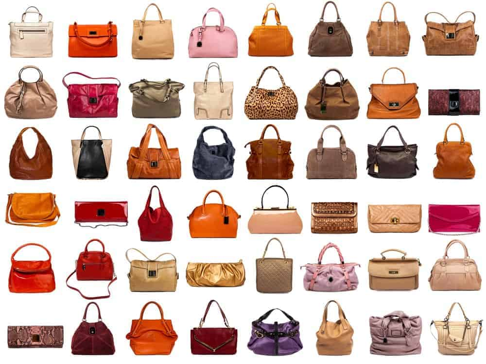 A collection of female handbags
