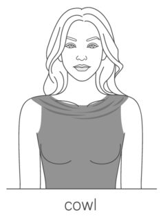 An illustration of the cowl look neckline.