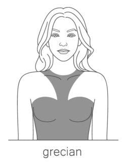 An illustration of the Grecian elegance neckline.
