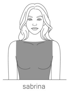 An illustration of the Sabrina style neckline.