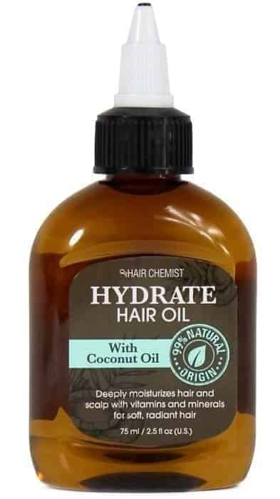 A bottle of Hydrate Hair Oil with Coconut Oil.