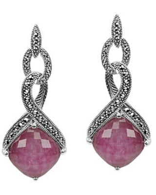 A pair of Sterling Marcasite & Ruby Doublet Earrings.