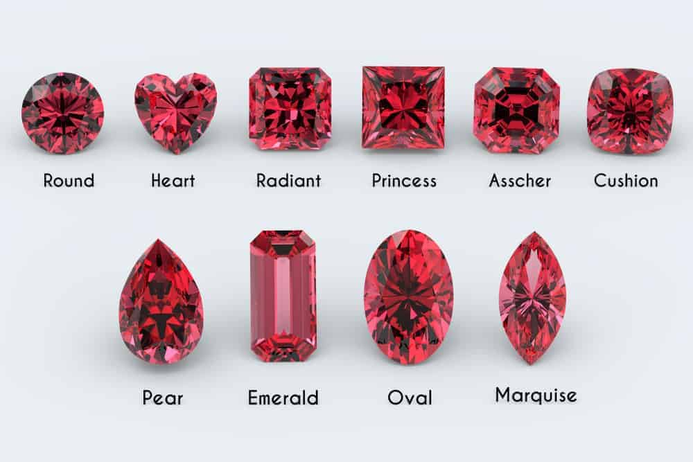A chart of the ten popular ruby shapes and cuts.