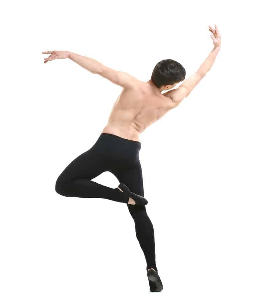 A man dancing in ballet flats.