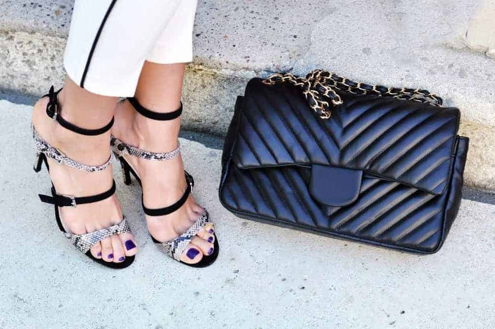 A pair of stunning strappy black-and-white high heels.