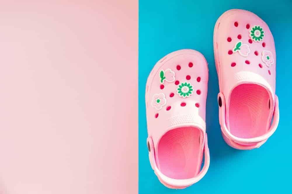 A pair of cute pink crocs.