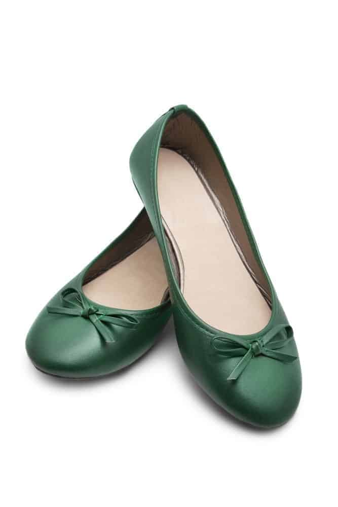 A pair of simple yet charming green ballerina flats.