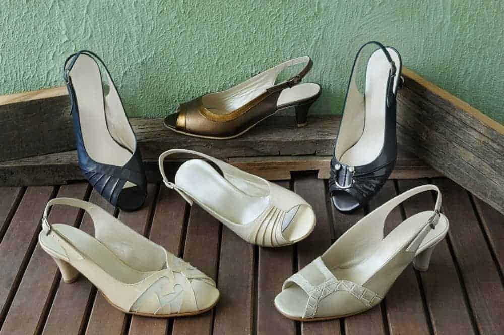 Stylish peep toes sandals on display.