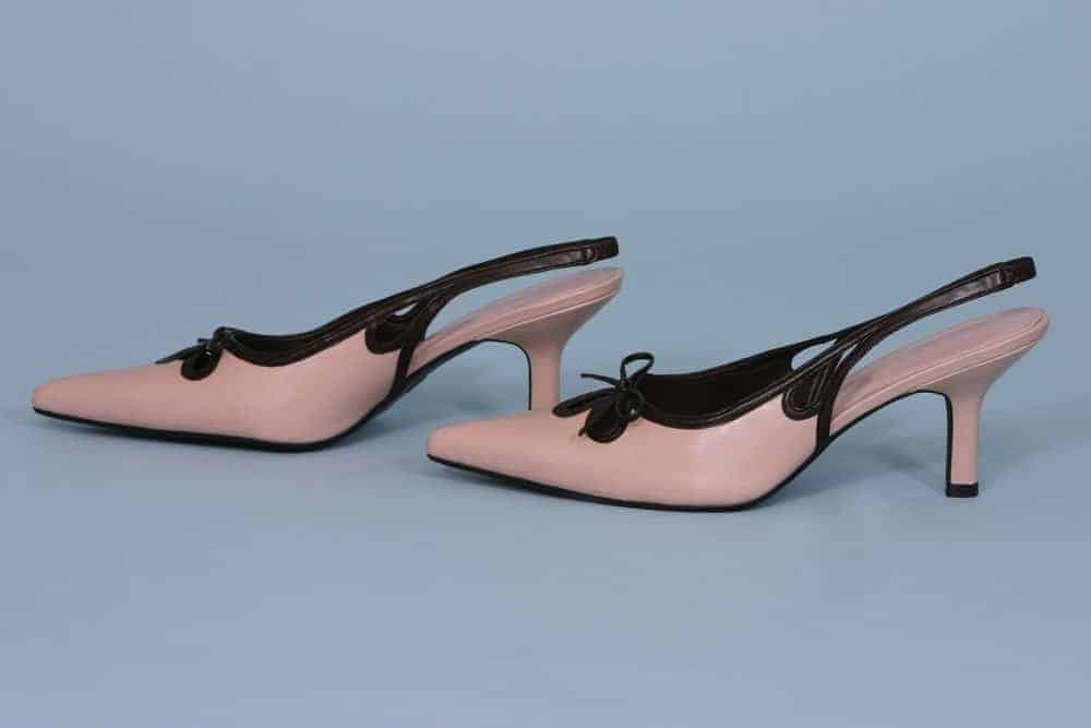 A pair of lovely pink slingback sandals.