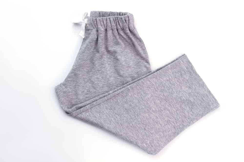 A pair of gray drawstring sweatpants.