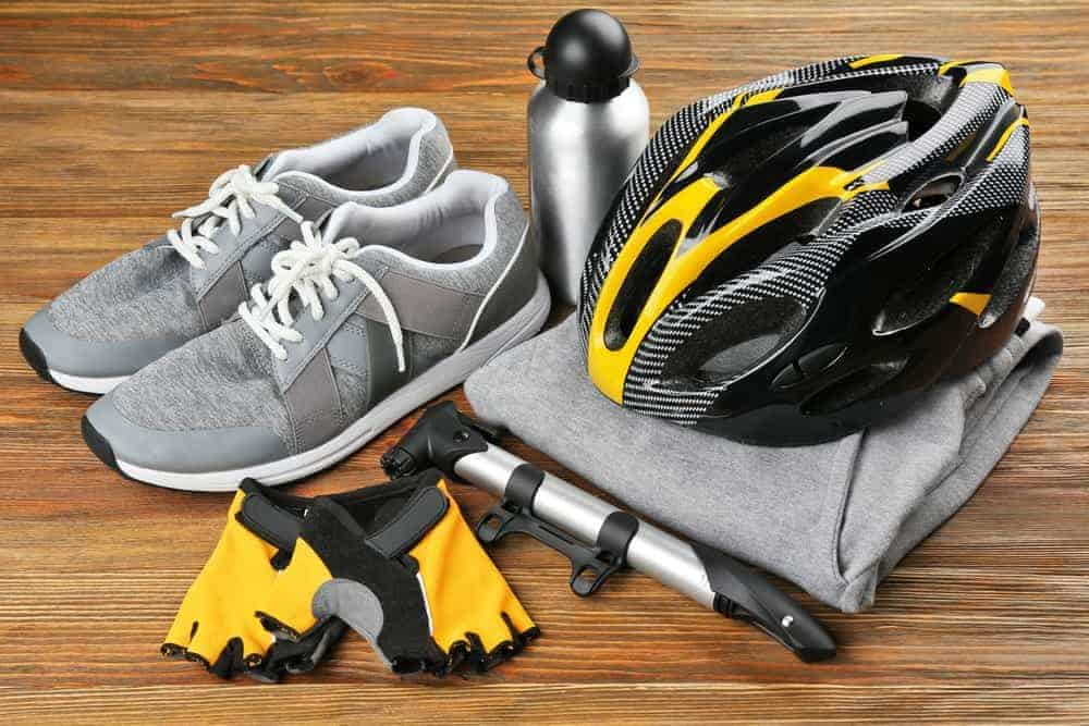 A pair of gray sweatpants as part of an essential set of a bike racer.