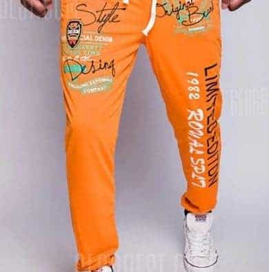 A pair of orange polyester sweatpants.