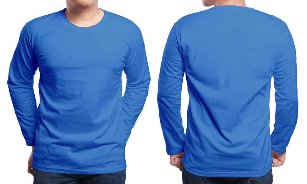 Front and back view of a blue long sleeve T-shirt.