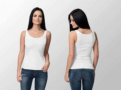 Front and back view of woman wearing white tank top.
