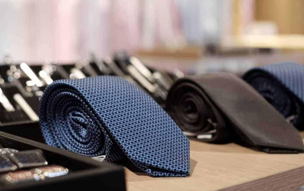 Apron neckties on display.