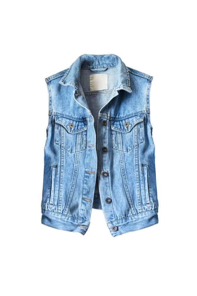 A blue denim vest.