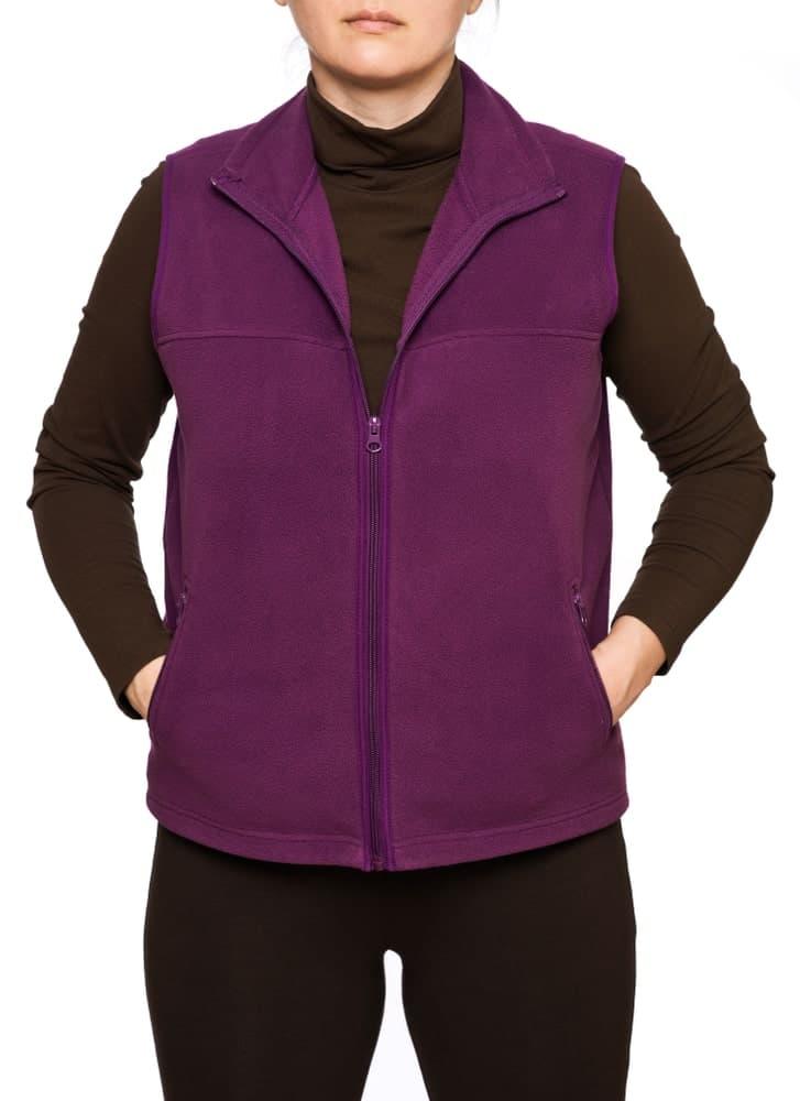 A purple fleece vest with zipper.