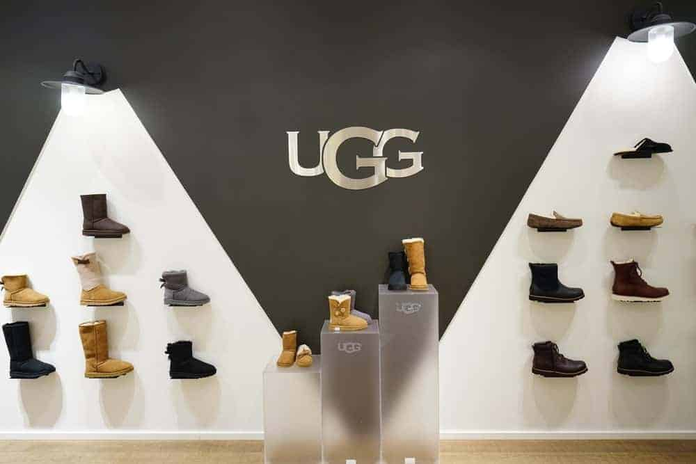 Display of warm winter boots in an UGG store.