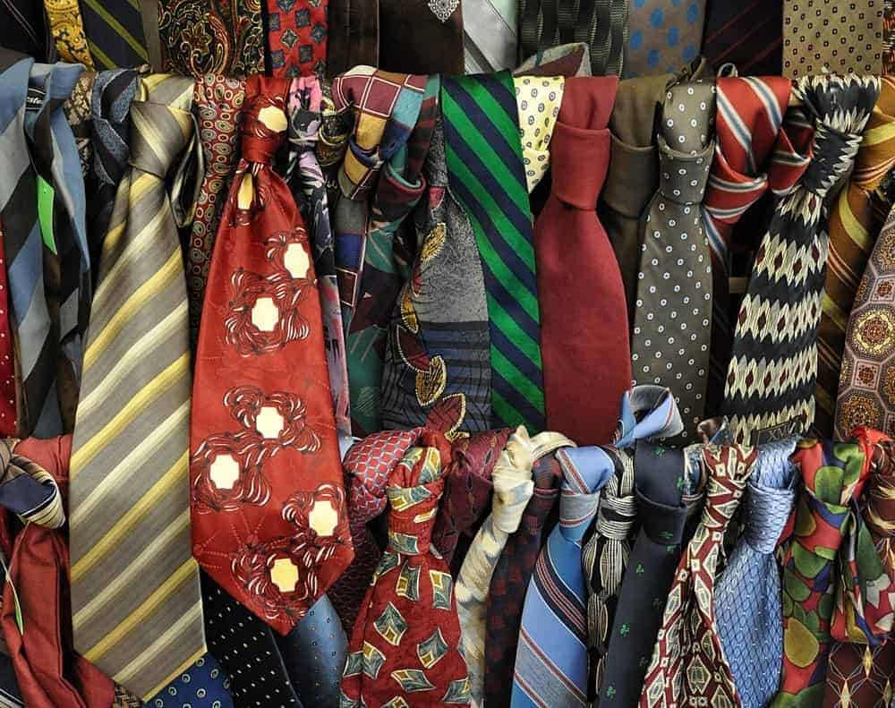 Focused look at different styles and colors of neckties.