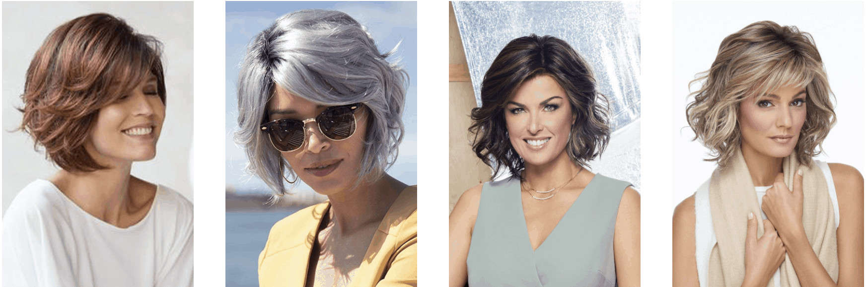 Wavy and curly hair wig examples