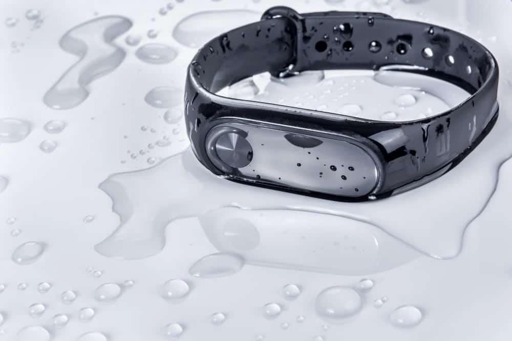 Drenched fitness bracelet.