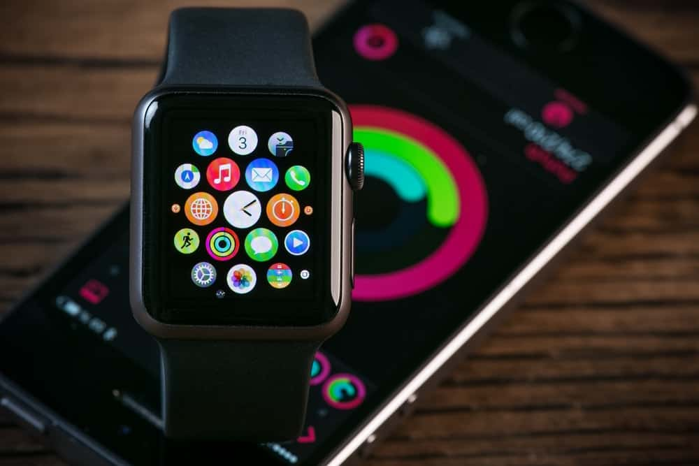 A close look at an Apple Watch showcasing the apps.