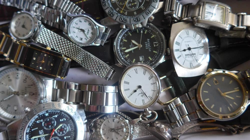 A look at a bunch of discarded watches.