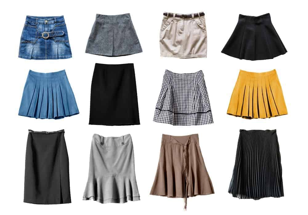 Set of various skirts