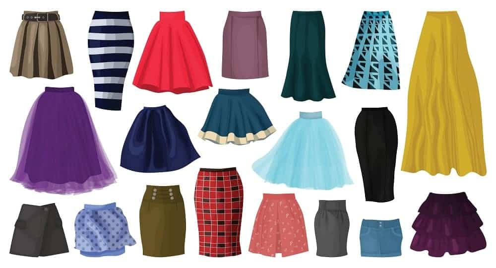 A collection of various types of skirts.