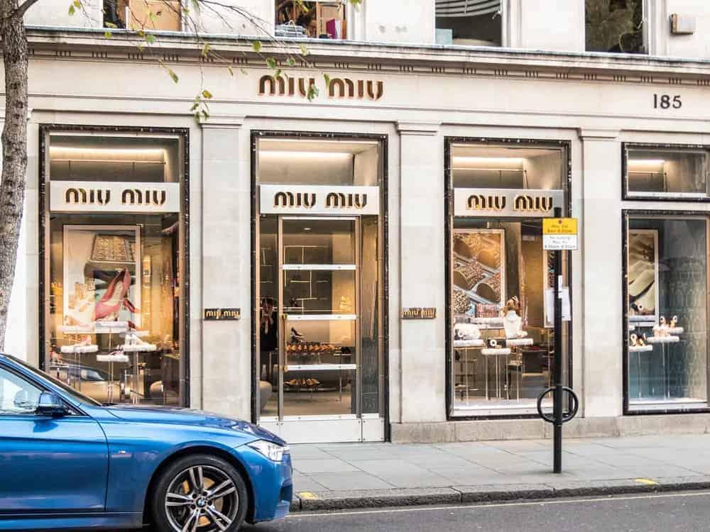 Front view of the Miu-Miu store on Sloane street in Knightsbridge, London.