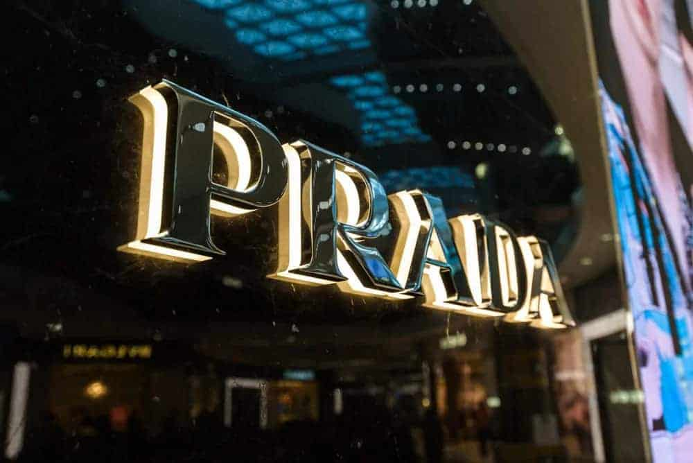 Prada elegant store sign, closer look.