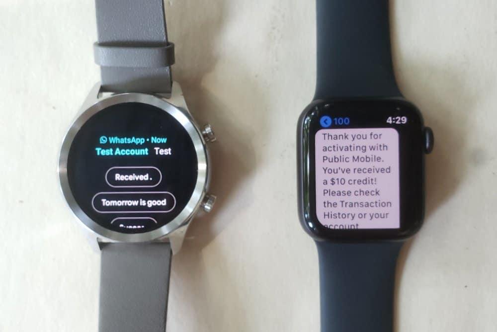 ticwatch c2 vs apple watch series 5 texts
