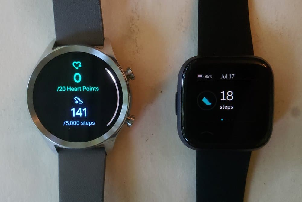 Ticwatch C2 vs Fitbit Versa 2 exercise stats