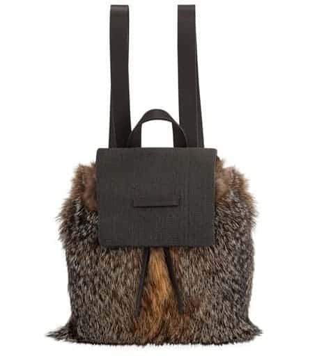 Brunello Cucinelli Fox Fur backpack in brown.