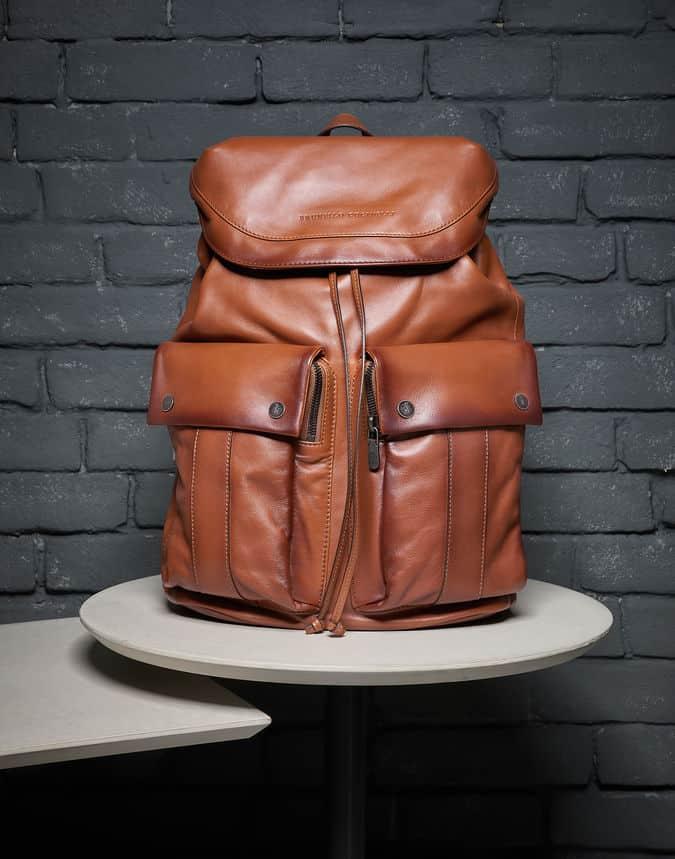 Brunello Cucinelli leisure backpack calfskin in brown.