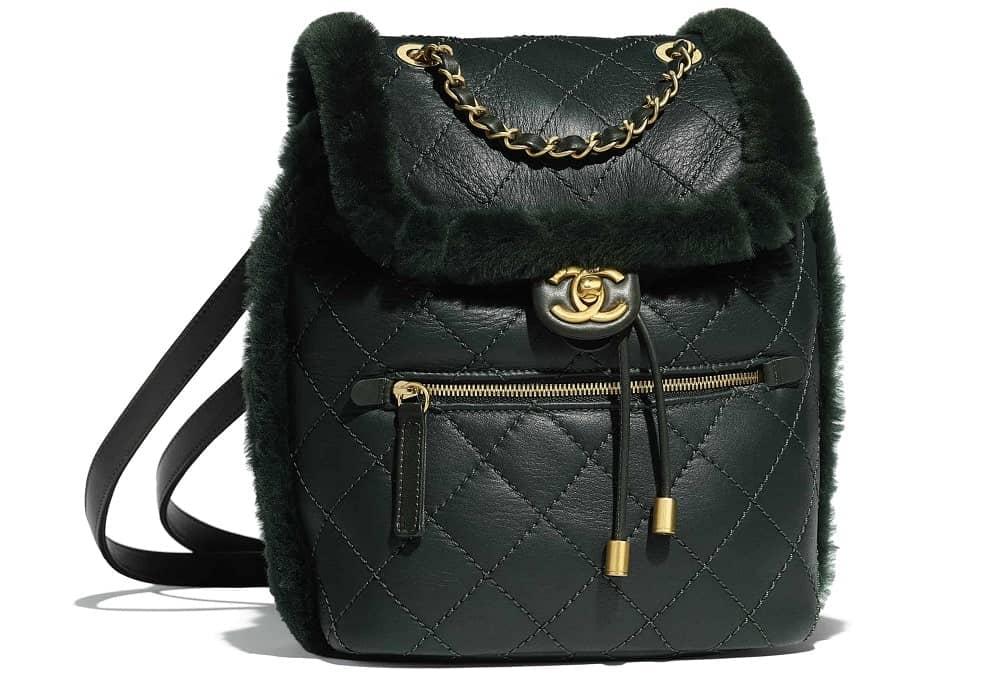 Chanel lambskin shearling backpack in black.