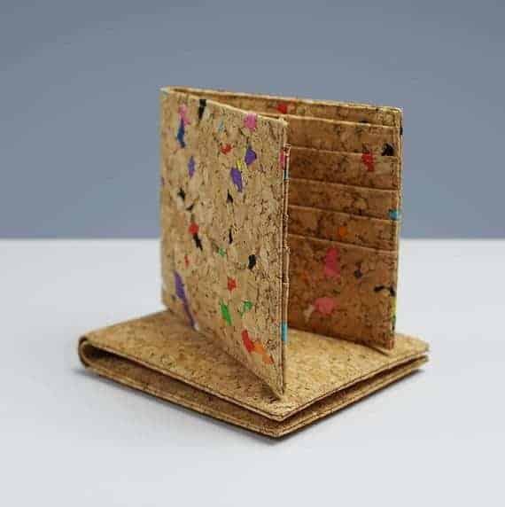 An eco-friendly bi-fold wallet made of cork.