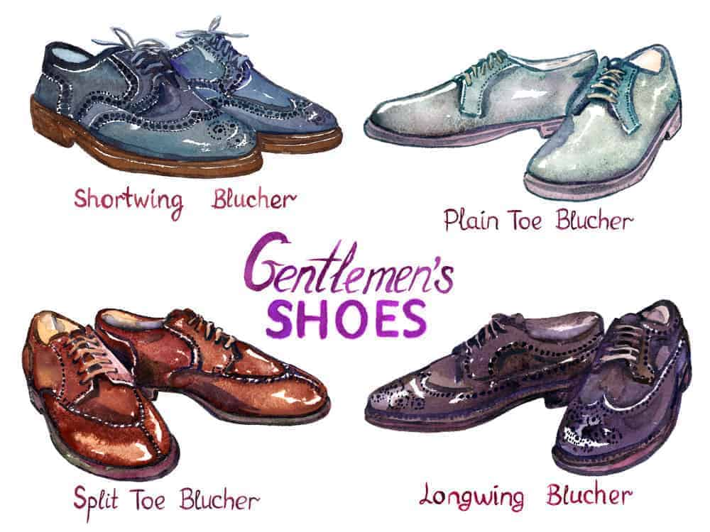 An illustrative representation of the types of Blucher shoes for men.