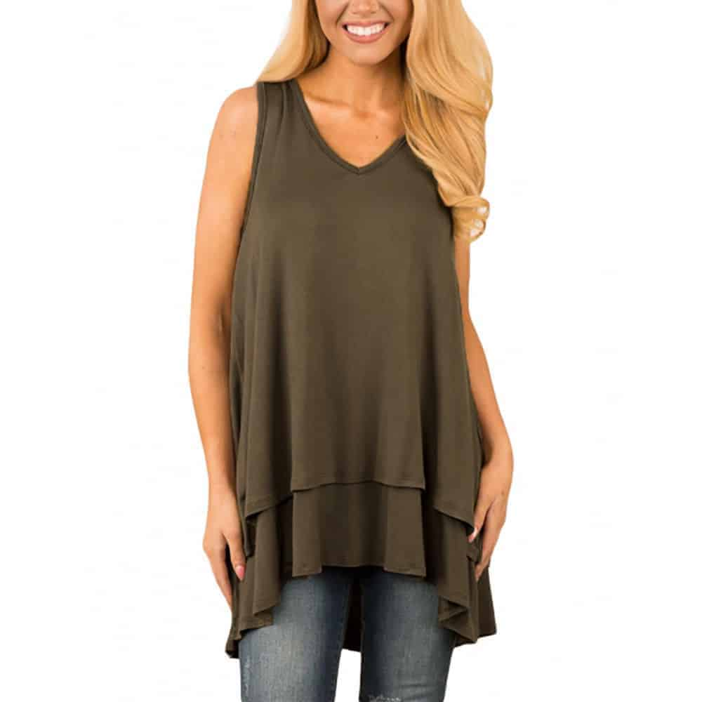 Long, layered top in a dark tone.
