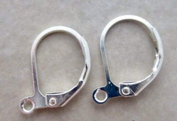 A pair of earrings with lever backs.