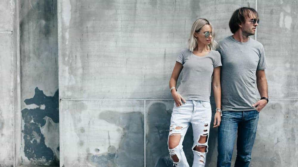 Man and woman wearing jeans