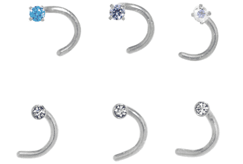 A set os steel multi-colored screw nose rings.